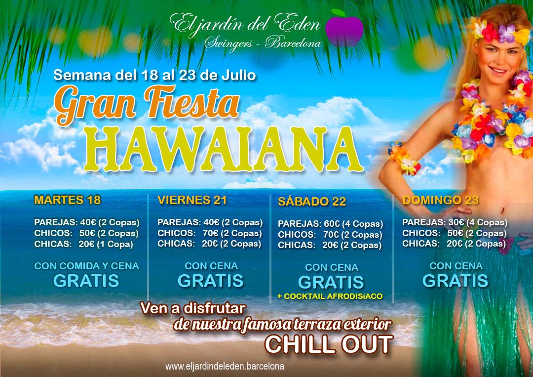 Fiesta hawaiana el jard n del ed n barcelona for El jardin del eden montornes