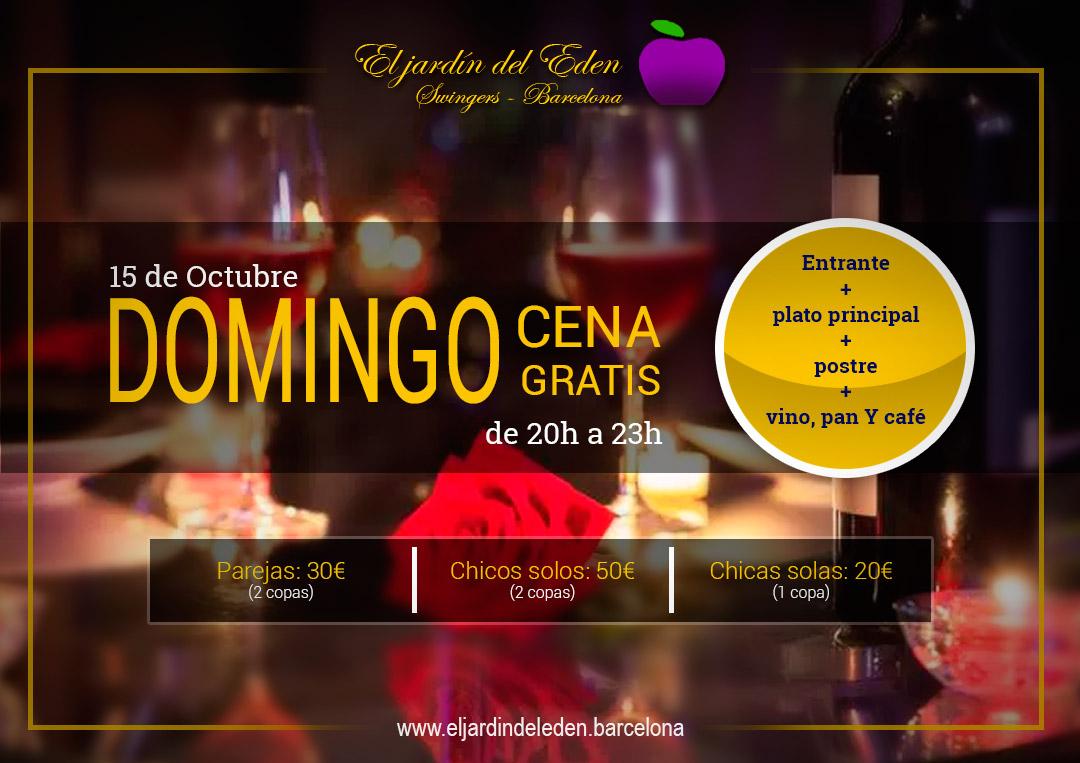Domingo 15 10 cena gratis el jard n del ed n barcelona for El jardin del eden montornes