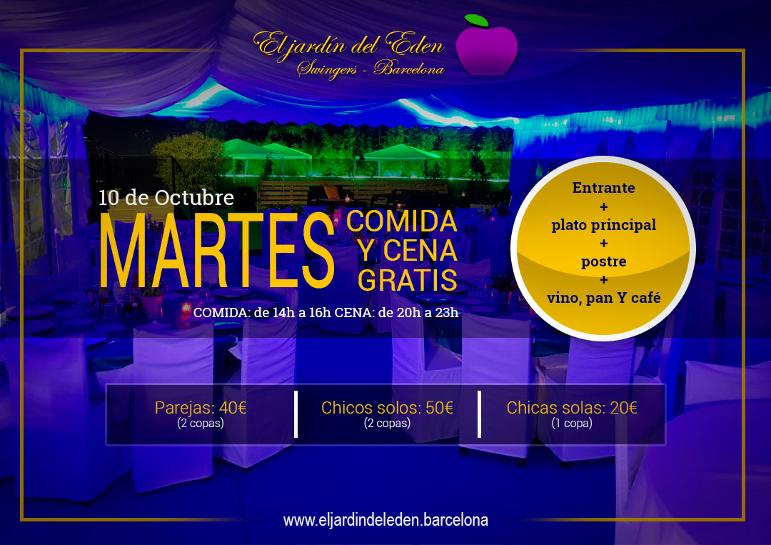 Cena martes10 el jard n del ed n barcelona for El jardin del eden montornes