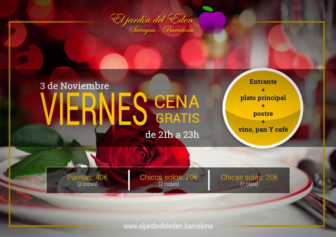 Viernes 3 11 cena gratis el jard n del ed n barcelona - El jardin del eden barcelona ...